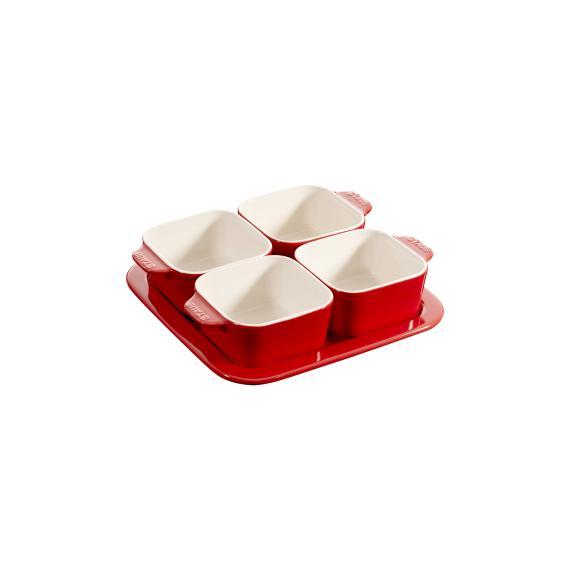 珐琅陶瓷方形多功能小碗 4件套 附托盘